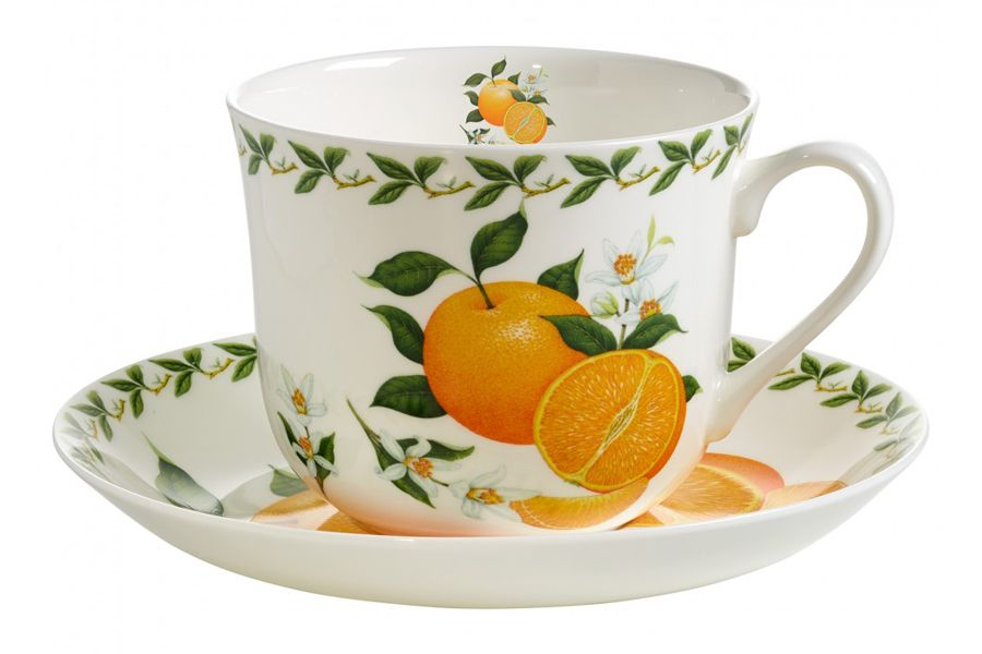 Чашка с блюдцем Апельсин, 0.48 л, подарочная упаковка