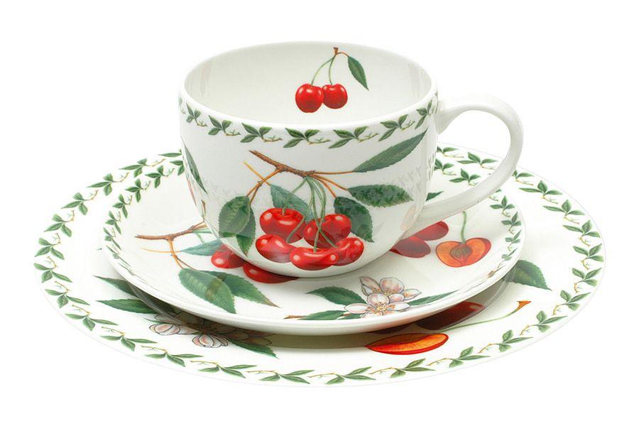Набор: чашка, блюдце, тарелка Вишня, 0.25 л, 20 см, подарочная упаковка