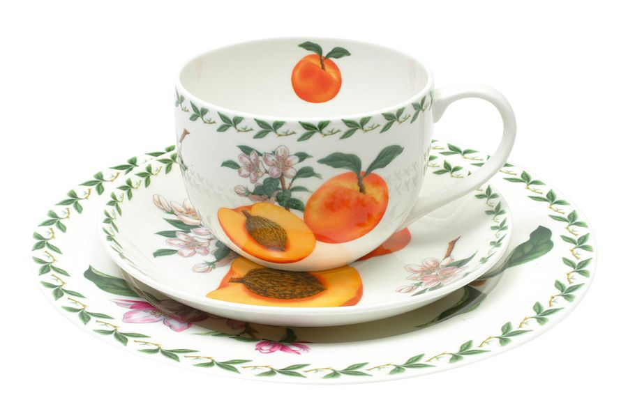 Набор: чашка, блюдце, тарелка Абрикос, 0.25 л, 20 см, подарочная упаковка