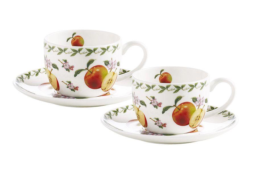 Набор: 2 чашки + 2 блюдца Яблоко, 0.1 л, подарочная упаковка