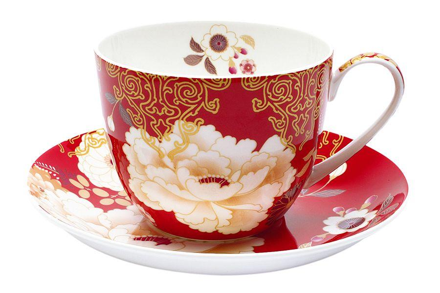 """Чашка с блюдцем """"Кимоно"""" (красный), 0.48 л, подарочная упаковка"""