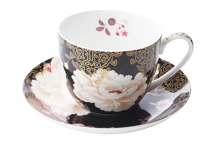 """Чашка с блюдцем """"Кимоно"""" (черный), 0.48 л, подарочная упаковка"""