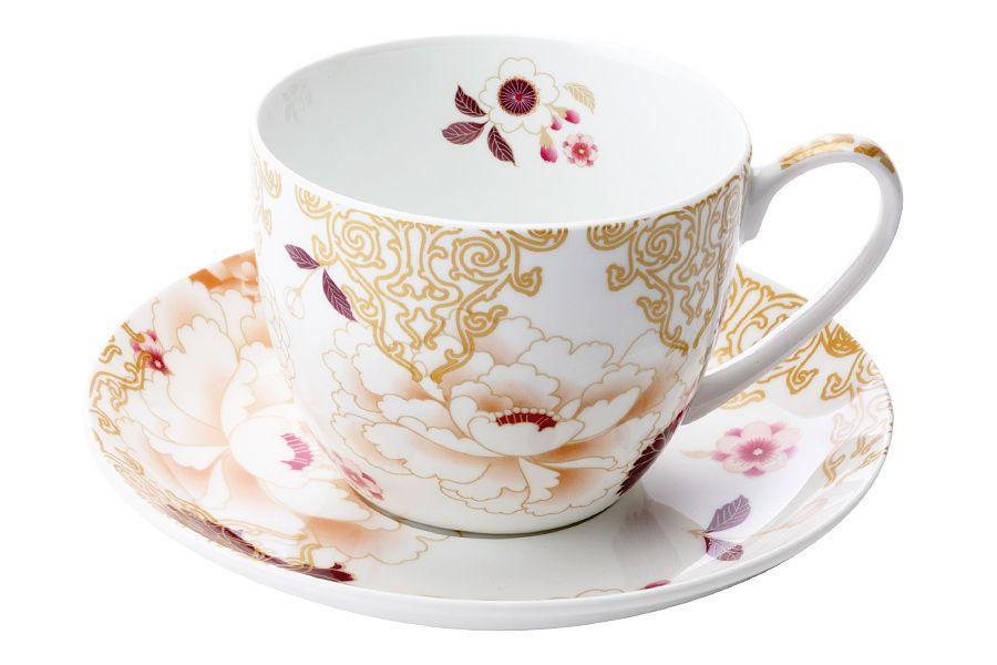 """Чашка с блюдцем """"Кимоно"""" (белый), 0.48 л, подарочная упаковка"""
