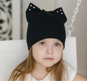 Шапка кот+ снуд. Двухслойная шапка с ушками черный (р-р 45-50)