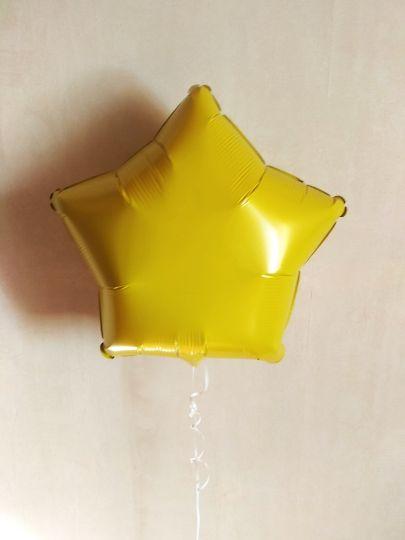 Звезда желтая шар фольгированный с гелием