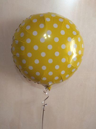 Желтый круг в горошек шар фольгированный с гелием