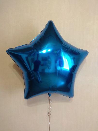 Звезда синяя большая шар фольгированный с гелием