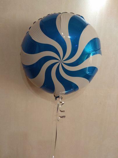 Леденец синий шар фольгированный с гелием