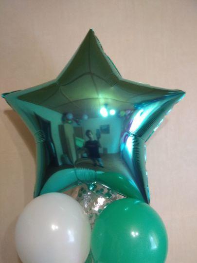 Звезда бирюзовая (тиффани) большая шар фольгированный с гелием