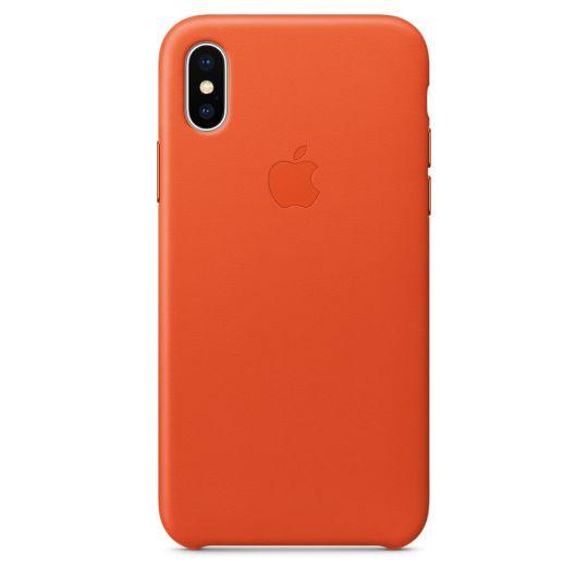 Чехол Apple Leather Case для iPhone X/Xs/XsMAX (ярко-оранжевый)