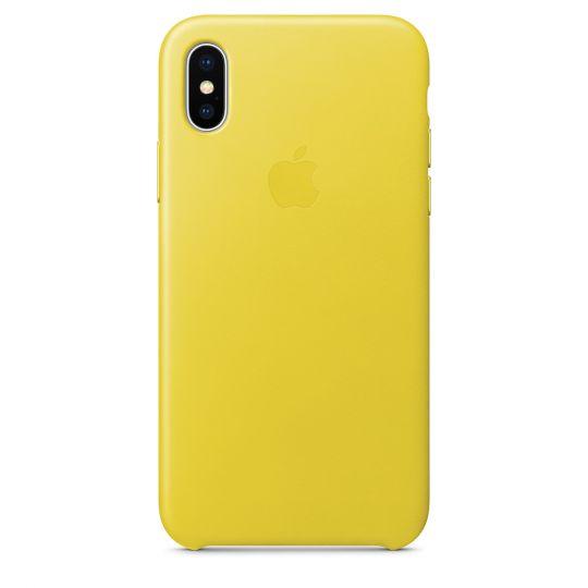 Чехол Apple Leather Case для iPhone X/Xs/XsMAX (жёлтый бутон)