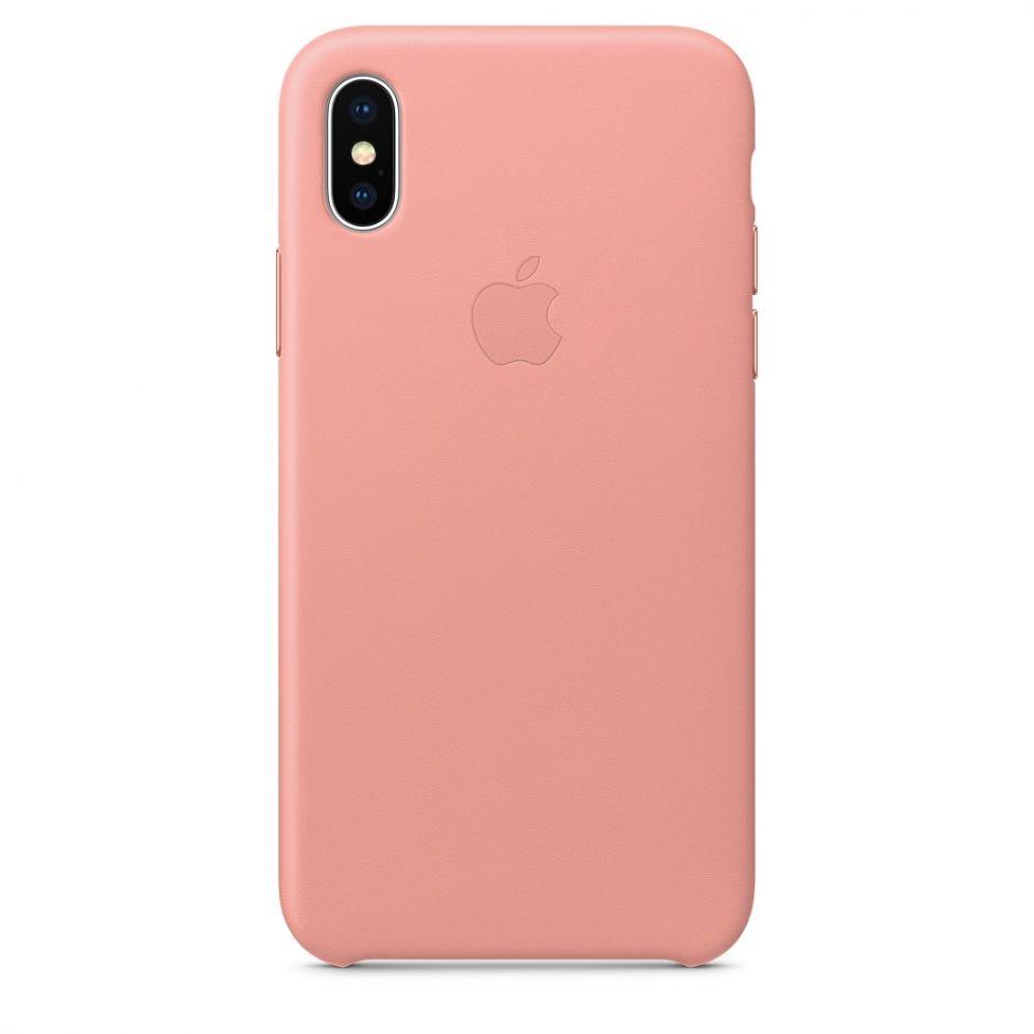 Чехол Apple Leather Case для iPhone X/Xs/XsMAX (бледно‑розовый)