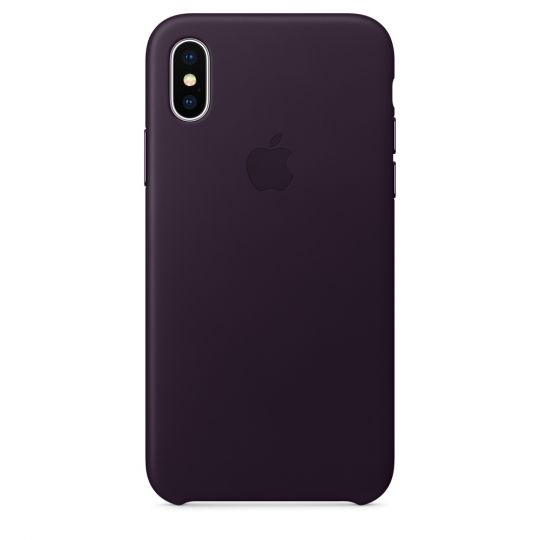 Чехол Apple Leather Case для iPhone X/Xs/XsMAX (баклажановый)
