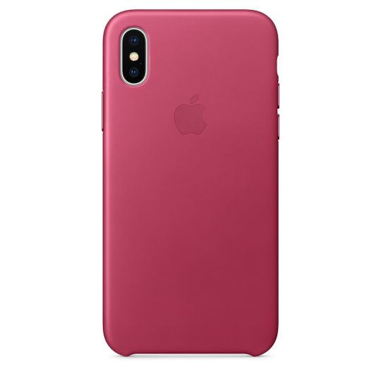 Чехол Apple Leather Case для iPhone X/Xs/XsMAX (розовая фуксия)