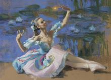 "Postcard Ballerina in the costume ""Butterflies"""