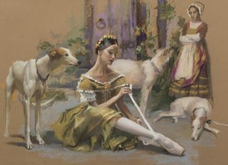 """Postcard Tying pointes. Ballet """"Giselle"""""""