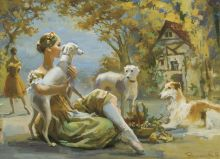 "Postcard A ballerina with a dog. Ballet ""Giselle"""