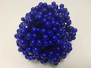 `Ягоды 10 мм (длина 16см), цвет - синий. 1 уп = 40 ягодок ( 20 веточек)