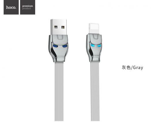 Кабель USB-Lightning Hoco U14 Steel man, серый