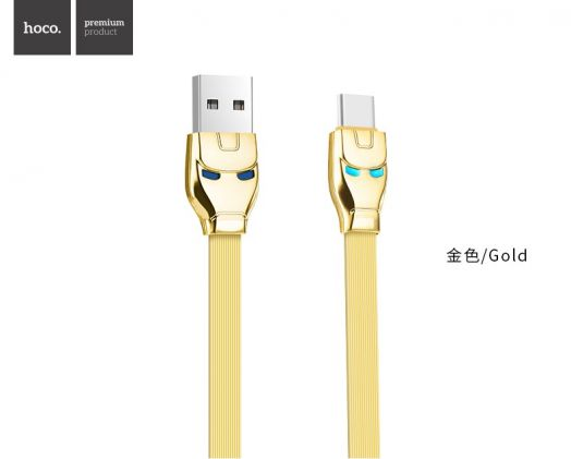 Кабель USB-Type-C Hoco U14 Steel man, золотистый