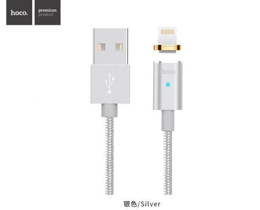 Кабель USB-Lightning Hoco U16 Magnetic adsorption, серебристый