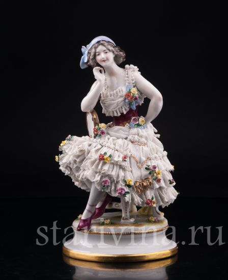 Изображение Анна Павлова в роли Китри, кружевная, Volkstedt, Германия, до 1935 г