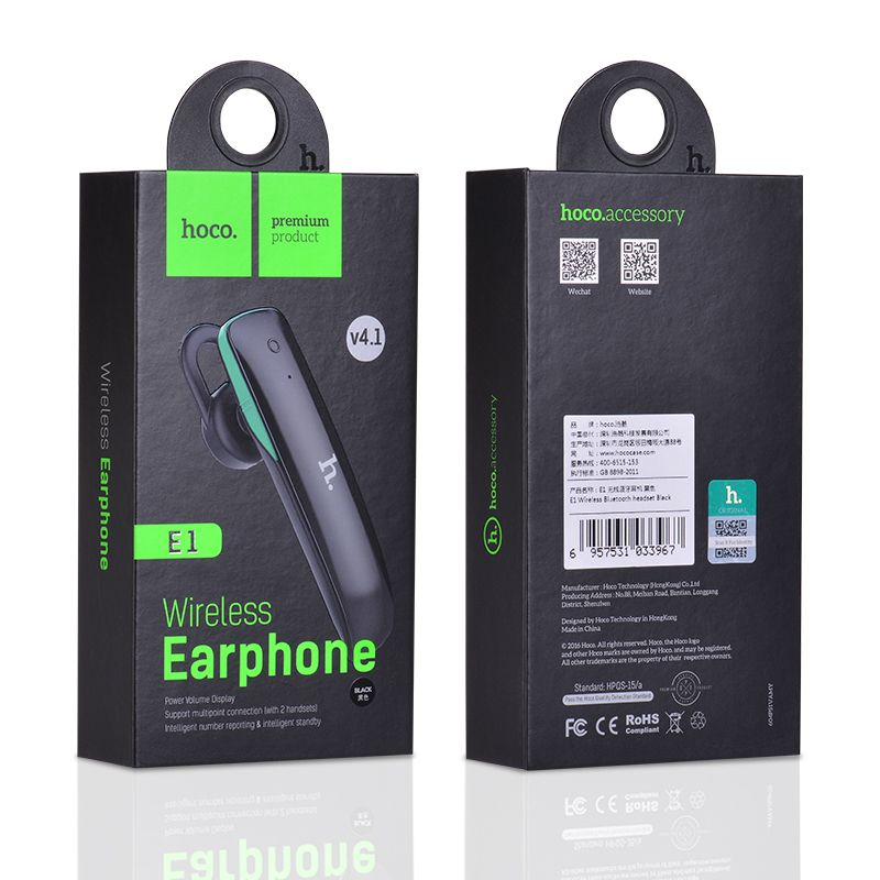 Bluetooth-гарнитура Hoco E1, черный