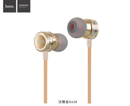 Наушники с гарнитурой Hoco M16 Ling sound metal, золотистые