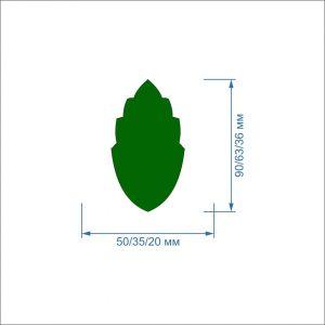 Заготовка ''Листок'' , фетр 1 мм (1уп = 5наборов)
