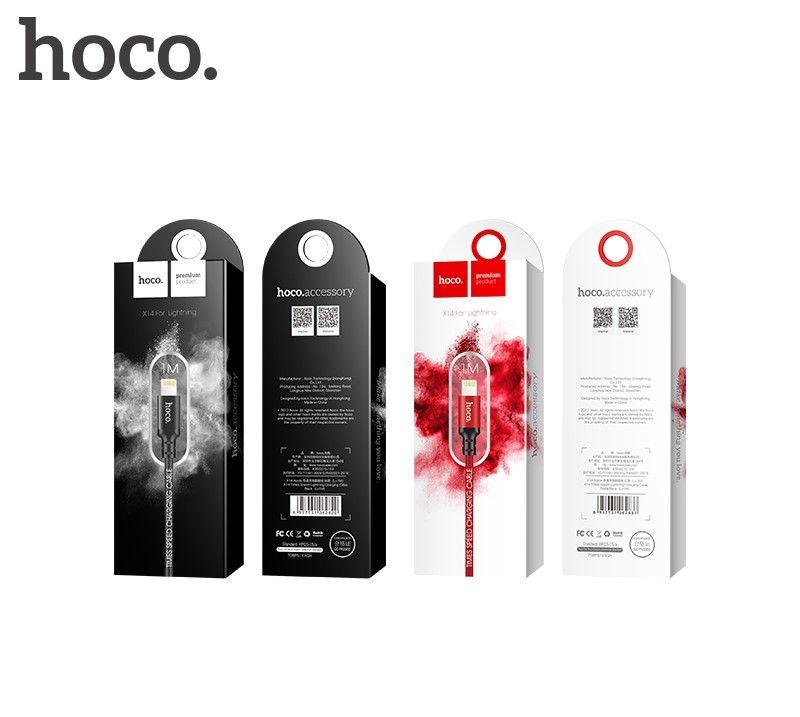 Кабель USB-Lightning Hoco X14 Times speed, красный, 1m