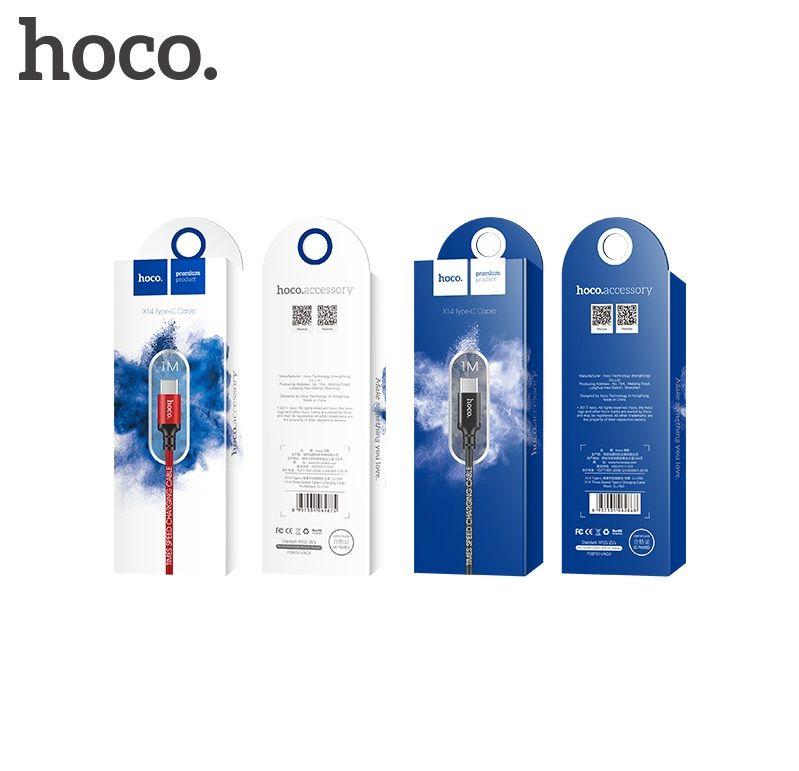 Кабель USB-Type-C Hoco X14 Times speed, черный, 1m