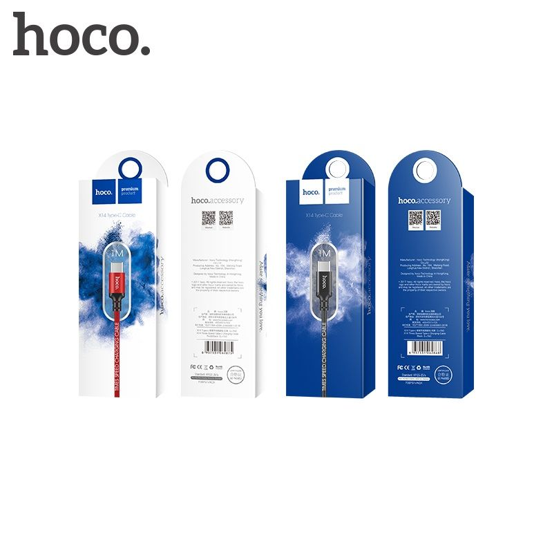 Кабель USB-Type-C Hoco X14 Times speed, красный, 1m