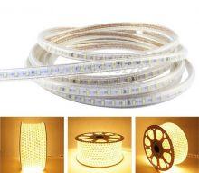 LED лента LUX, герметичная в силиконовой оболочке, 220V,  IP65, SMD 3014, 120 диодов/метр, теплый белый