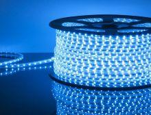 LED лента LUX, герметичная в силиконовой оболочке, 220V,  IP65, SMD 3014, 120 диодов/метр, синий цвет