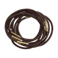 DEWAL Резинки для волос, с серебристой нитью, коричневые, mini 10 шт/уп