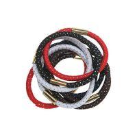DEWAL Резинки для волос, с серебристой нитью, цветные, maxi 10 шт/уп