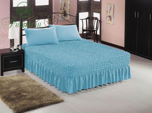 Покрывало на кровать евро 2.00*2.20  + 2 наволочки на подушки 50*70,голубой