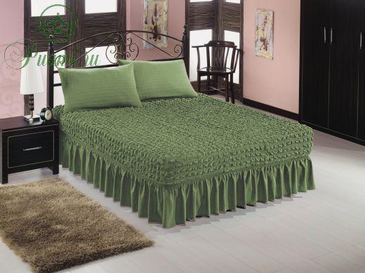 Покрывало на кровать евро 2.00*2.20  + 2 наволочки на подушки 50*70,зеленый