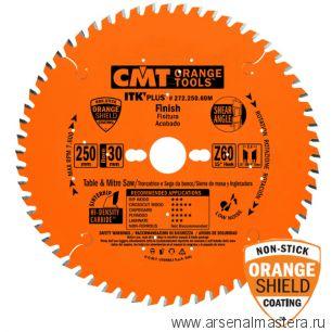 CMT 272.250.60M Ультратонкий пильный диск для торцовочной пилы (поперечно) 250x30x2,4/1,6 15гр 10гр ATB/ 8гр SHEAR Z60