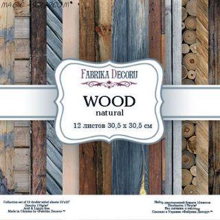 """Набор скрап бумаги """"Wood natural"""" 30,5*30,5 см FD"""