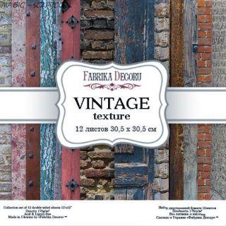 "Набор скрап бумаги ""Vintage texture""30,5*30,5 см FD"