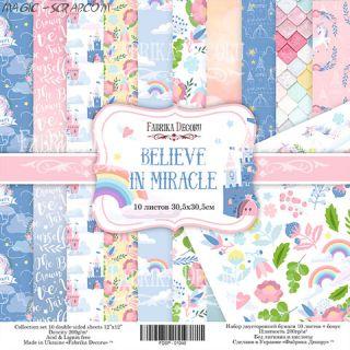 """Набор скрап бумаги """"Believe in miracle"""" 30,5*30,5 см FD"""