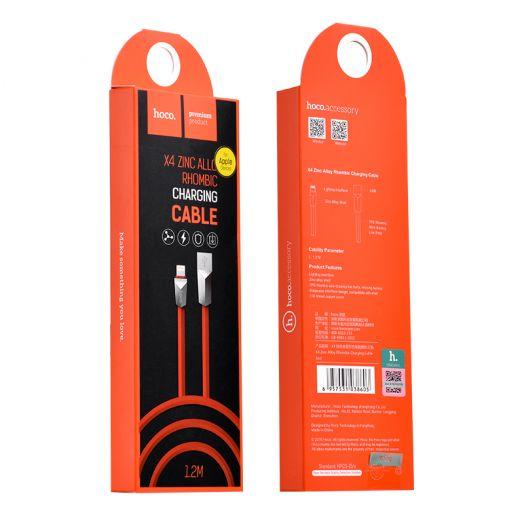 Кабель USB-Lightning Hoco X4 Zinc Alloy rhombus, красный