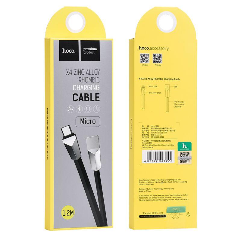 Кабель USB-MicroUSB Hoco X4 Zinc Alloy rhombus, черный