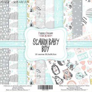 "Набор скрап бумаги ""Scandi Baby Boy"" 30,5*30,5 см FD"