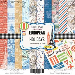 "НАБОР СКРАПБУМАГИ ""EUROPEAN HOLIDAYS"", 20X20СМ"