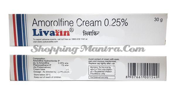 Ливафин (аморолфин 0.25 %W/W) крем противогрибковый Зидус Кадила | Zydus-Cadila Livafin (Amorolfine 0.25%) Cream