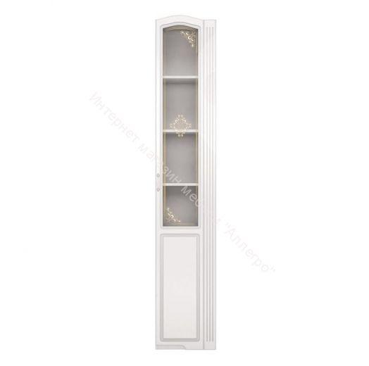 Шкаф-пенал со стеклом (правый) Виктория Белый глянец
