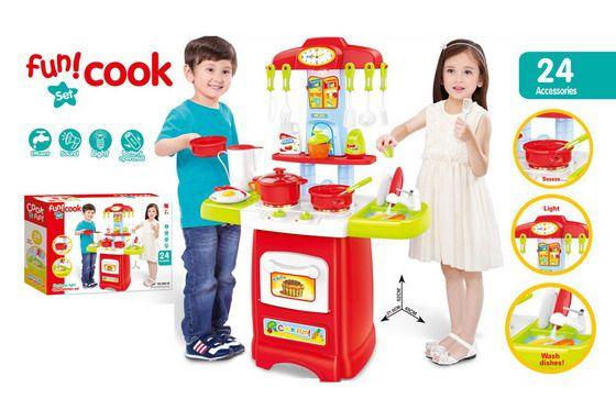 889-52 Детская кухня с водой, электрический кран, световый и звуковые эффекты 62 см