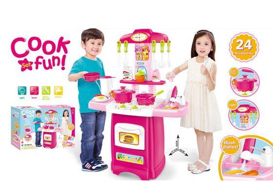 889-53 Детская кухня с водой, электрический кран, световый и звуковые эффекты 62 см